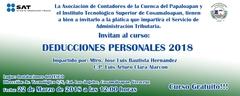 """Curso """"Deducciones Personales 2018"""""""